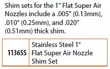 1 inch flat air nozzle shim set